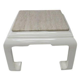 Travertine Top Lacquered Side Table