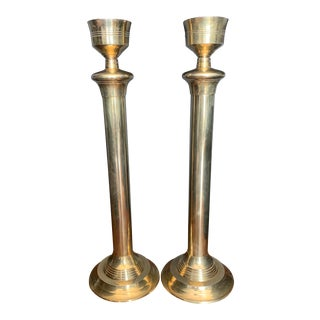 Vintage Brass Candlesticks - a Pair For Sale