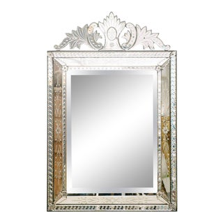 1920's Etched and Beveled Venetian Mirror For Sale