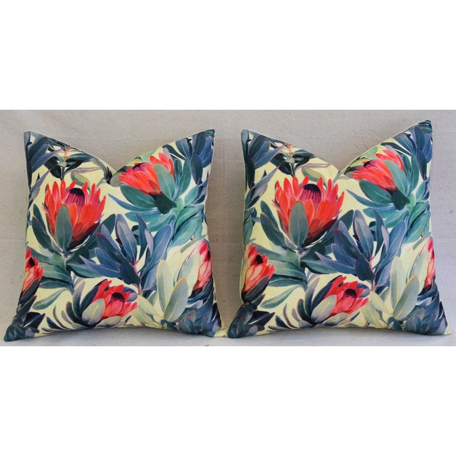 "18"" Colorful Tropical Protea Floral Feather/Down Pillows - a Pair - Image 5 of 11"