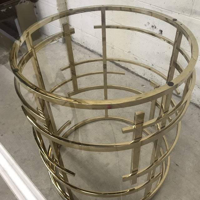 Brass Mitchell Gold Glass and Brass Dining Table- Round For Sale - Image 7 of 10