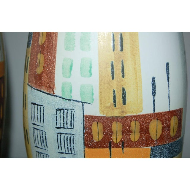 Gold Vintage Bitossi Italian Ceramic Cityscape Table Lamps For Sale - Image 8 of 10