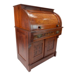 Antique Victorian Walnut Burlwood Cylinder Desk