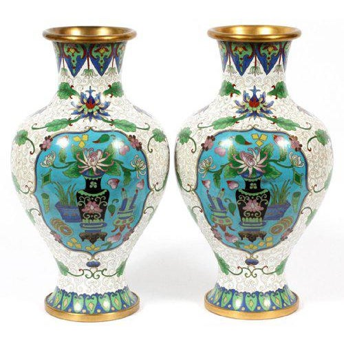 Asian Chinese Cloisonné Vases - A Pair For Sale - Image 3 of 3