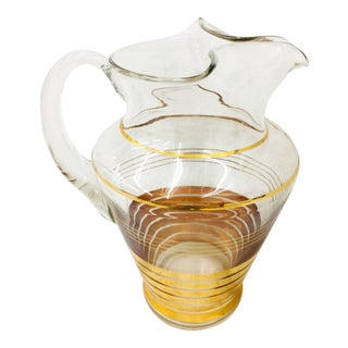 Vintage Gold Rimmed Glass Pitcher
