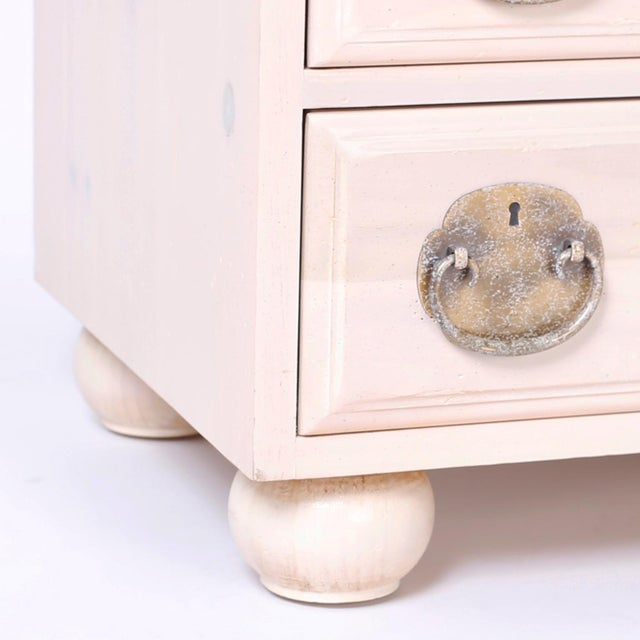 White Midcentury Pickled Pine Chests or Nightstands - A Pair For Sale - Image 8 of 10
