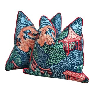 Pagoda & Dragon Pillows With Down Alternative Inserts - A Pair