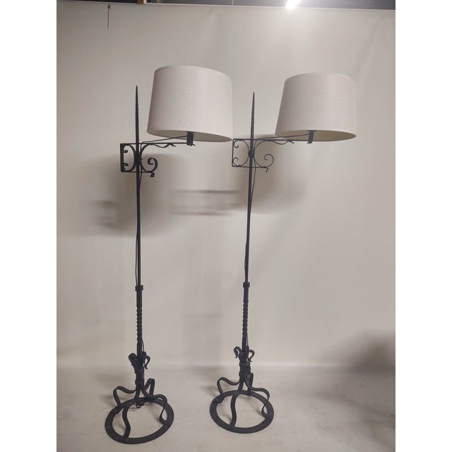 Spanish Hand Wrought Floor Lamps- a Pair For Sale - Image 13 of 13