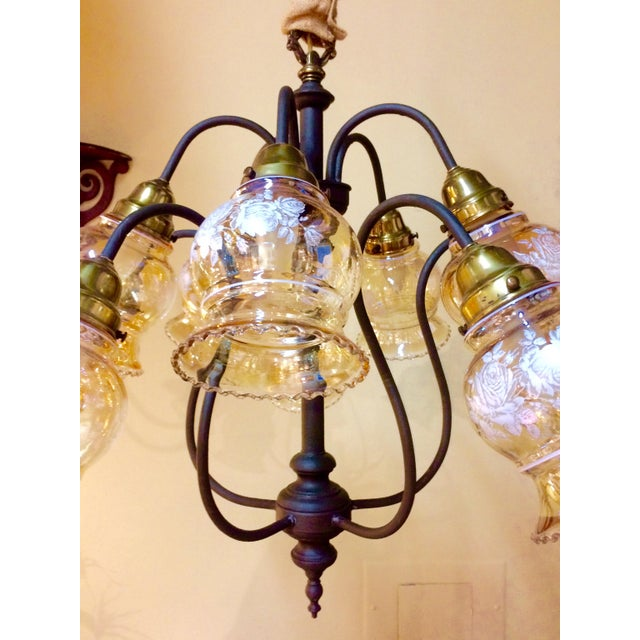 10-Arm Glass Shade Chandelier - Image 3 of 5