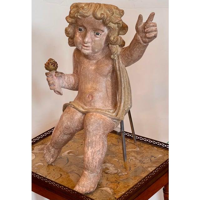 Antique Carved Italian Cherub Angel Putti Figure Sculpture For Sale - Image 4 of 7