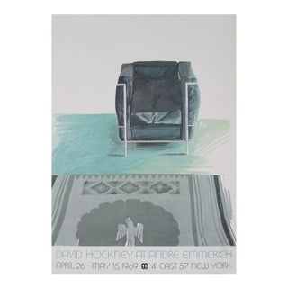 1969 David Hockney 'Corbusier Chair and Rug (Sm)' Pop Art Gray United Kingdom Offset Lithograph For Sale