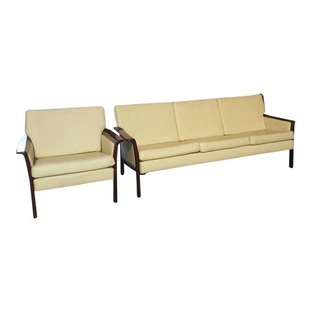 Vintage Danish Modern Hans Olsen White Leather Sofa & Chair - a Pair For Sale