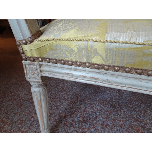 18th Century Painted Louis XVI Armchair For Sale - Image 9 of 11