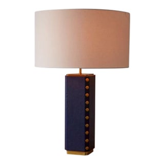 West Elm Leather Nailhead Blue Table Lamp For Sale