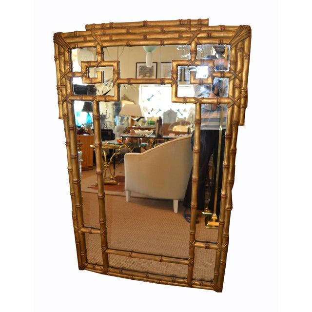 Hollywood Regency Golden Faux Bamboo Greek Key Wall Mirror For Sale - Image 4 of 13