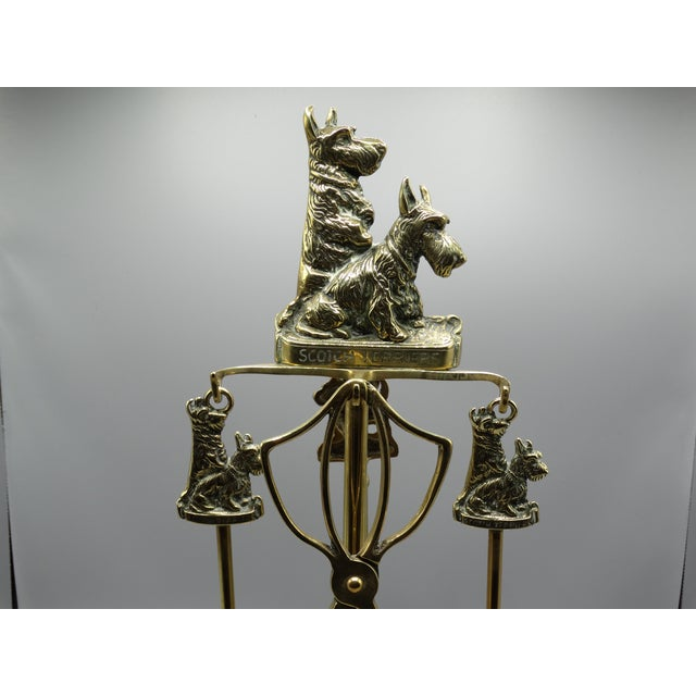 Brass English Brass Terrier Dog Fireplace Tools Set For Sale - Image 7 of 9