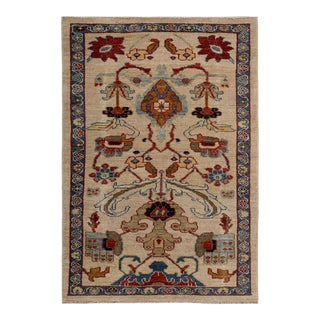 Turkish Rug Sultanabad Style With Brown & Navy on Ivory Field For Sale