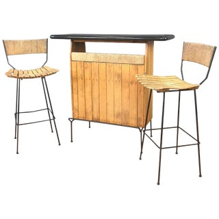 Arthur Umanoff for Shaver Howard and Raymor Dry Bar & Stools Set For Sale