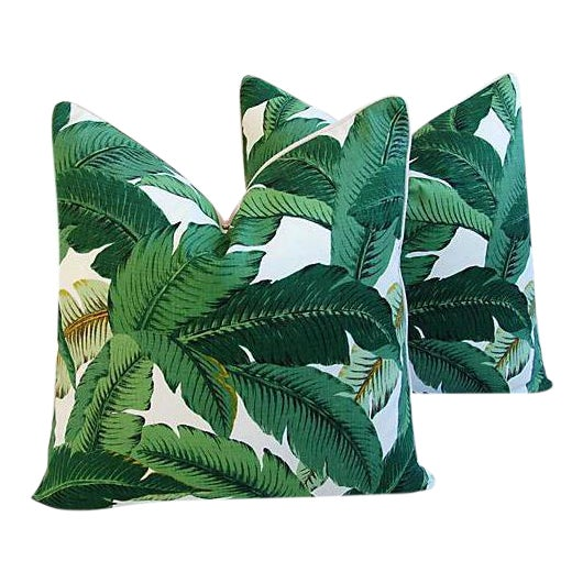 Banana Leaf Feather/Down Pillows - A Pair For Sale - Image 10 of 11