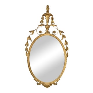 Adams Style Oval Giltwood Mirror, Italy, Circa 1950s For Sale