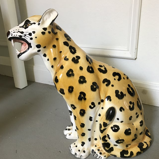 Vintage Hand Painted Leopard Statue - Image 2 of 6