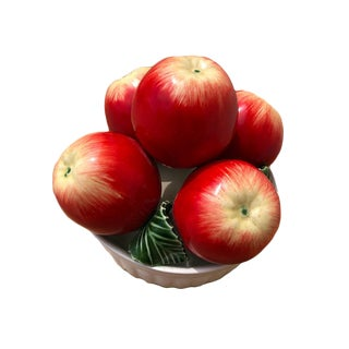Vintage Trompe l'Oeil Porcelain Bowl of Apples For Sale