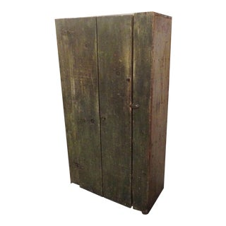19th Century Wall Cupboard In Original Sage Green Over White Washed Paint For Sale