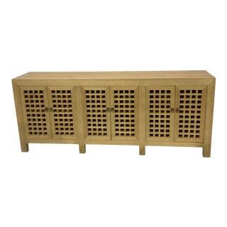 Asian Natural Six Door Lattice Cabinet For Sale