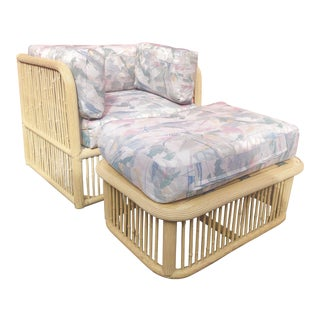 Vintage Bamboo Club Chair With Ottoman For Sale