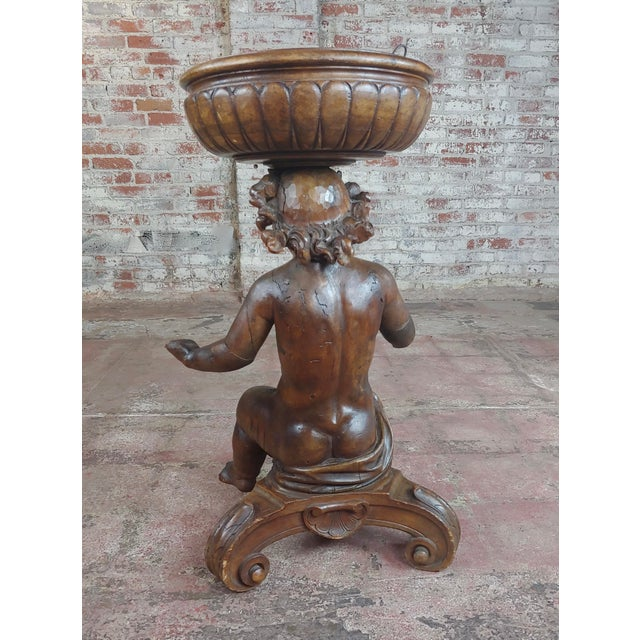 Brown 18th Century French Hand-Carved Walnut Cherub With a Plant Stand For Sale - Image 8 of 10