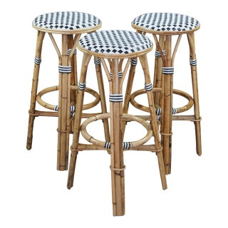 Vintage Woven Bamboo Wicker Rattan Bentwood French Bistro Bar Stools - Set of 3 For Sale
