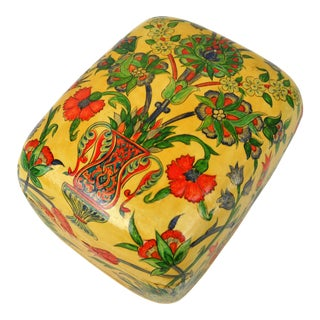 Floral Lacquered Trinket Box For Sale