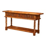 Image of Louis XIII Hand-Carved Distressed Walnut Console Sofa Table With Drawers For Sale
