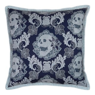 Skulls Damask Pillow, Navy Blue For Sale