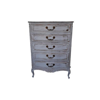 Vintage Henredon Four Centuries Tall Dresser French Provincial Henredeon Gray Distressed Tall Dresser Paris Apartment French Farmhouse For Sale