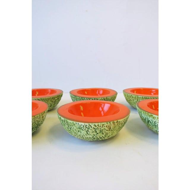 Italian Designer Matte Ceramic Pottery Orange Melon Fruit Sculpture Bowls For Sale In New York - Image 6 of 9