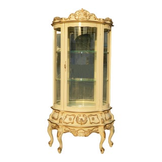 Vintage French Provincial Rococo Louis XVI Cream Curio Cabinet Display Case For Sale
