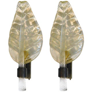Pair of Murano Glass Gold Leaf Sconces by Fabio Ltd For Sale