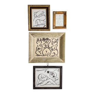 Contemporary Black and White Abstract Sketch Artworks by Artist Akop Tashchyan in Vintage Frames. Lot of 4 For Sale