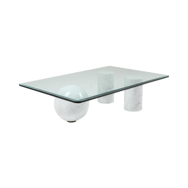 Italian White Marble Coffee Table by Massimo Vignelli For Sale