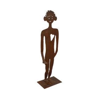 Mid Century Steel Garden Sculpture of Man W/ Heart Cut Out For Sale