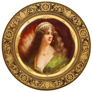 """Rare and Exceptional Royal Vienna Porcelain Plate of """"Yessida"""" by Wagner For Sale"""