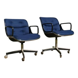 1970s Vintage Charles Pollock for Knoll Executive Office Chairs- A Pair For Sale