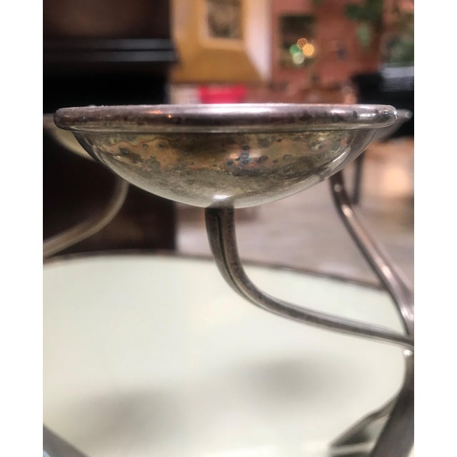 Metal 1960s Mid-Century Modern Silverplated Three Arms Candleholders - a Pair For Sale - Image 7 of 10