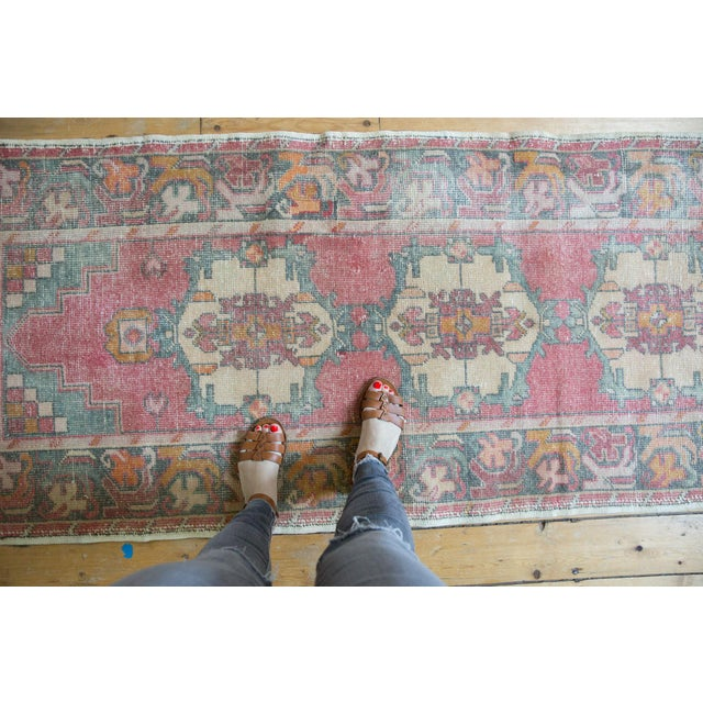 "Old New House Vintage Distressed Oushak Rug Runner - 3' X 9'8"" For Sale - Image 4 of 12"