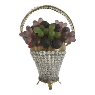 Vintage Art Deco Czech Beaded Basket Lamp For Sale