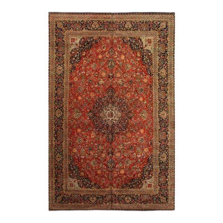 Pasargad Rust Persian Hand Knotted Fine Kashan Design Rug- 10' X 16' For Sale