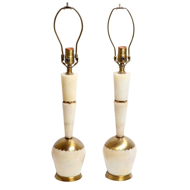 Mid-Century Italian Marble & Brass Lamps - A Pair - Image 1 of 4