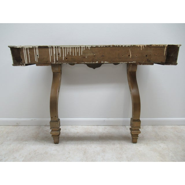 Early French Victorian Marble Top Wall Hall Console Server Table For Sale - Image 12 of 13