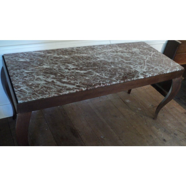 Custom Designed Metal & Marble Console Hall Table - Image 6 of 11